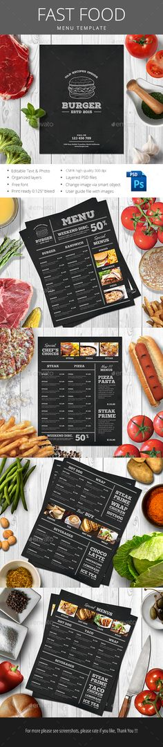 Fast Food Menu Template PSD. Download here: http://graphicriver.net/item/fast-food-menu/14693279?ref=ksioks