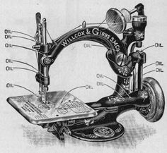 Standard threading, oiling and parts for the Willcox & Gibbs machine