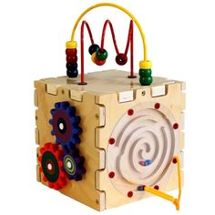 Let your toddlers discover his senses! The Cutie Cube from Anatex integrates multiple activity toys into one educational toy for children. On the side, you will find a simple version of the Pathfinder, Ziggidy Zag, Gears and Magnetic Circle Express. The top has two bead maze tracks. The opportunities for learning are endless!  Your kids will never get bored. It is designed to enhance your child's natural gifts. The activity toys strengthen your kids' cognitive and motor skills.