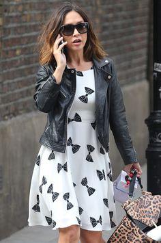 Celebrities In Leather: Myleene Klass wears a black leather jacket
