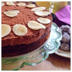 Banan och chokladmoussetårta, mjölkfri, laktosfri, paleo, glutenfri, sockerfri