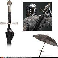 Umbrella that looks like a sword.  @Aubri Manning