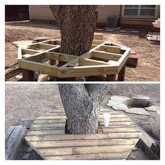 DIY: Bench around tree:)