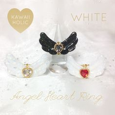 Feather ring of magical girl ♡ angel ♡ ring ♡ white opal × clear