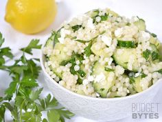 Lemony Cucumber Couscous Salad from Budget Bytes. Could substitute orzo instead of couscous. Vegetarian Recipes, Cooking Recipes, Healthy Recipes, Fast Recipes, Greek Recipes, Summer Recipes, Greek Marinated Chicken, Greek Chicken, Grilled Chicken
