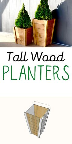 Build your own tall wood planters with our DIY plans!  This plan uses inexpensive cedar fence pickets and easy cutting to keep the cost and time investment down.  Cool, modern design with tapered sides to add style to your outdoor space. #anawhite #diy #garden #gardenbuilds #woodplanters Diy Furniture Projects, Woodworking Projects Diy, Diy Wood Projects, Handmade Furniture, Furniture Vintage, Farmhouse Furniture, Wood Crafts, Modern Furniture, Furniture Design
