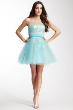 La Femme Short Sequin Tulle Dress