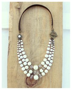 Bohemian Pearls Necklace, Multi Strand, White Pearls, Clear Crystals, Dark Brown Faux Leather Strap - Boho Chic, Romantic, Wedding Jewelry