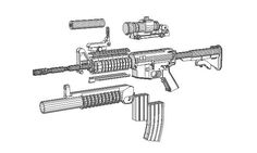 This paper model is a full sizeM4A1 Carbine (often referred to as the M4), an assault rifle that was derived from earlier carbine versions of the M16 rifl