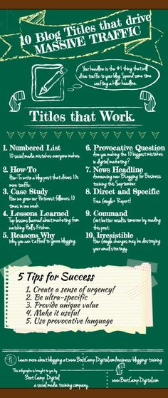 10 blog Titles that help drive traffic. via Digital Information World #blog #infographic