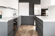 white and grey kitchen Kitchens, Kitchen Cabinets, Grey, Home Decor, Gray, Decoration Home, Room Decor, Cabinets, Kitchen