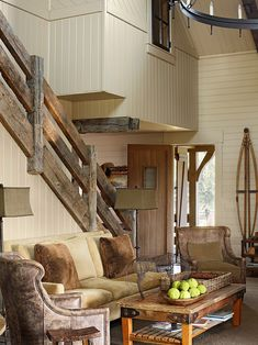 Love the coffee table and oh my, the stair rail, so cool!!!....Rustic Interior Design Ideas Design, Pictures, Remodel, Decor and Ideas