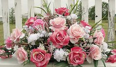 Victorian-Monument-Tombstone-Saddle-Cemetery-Memorial-Flower-Pink-Roses-Wh-Carn