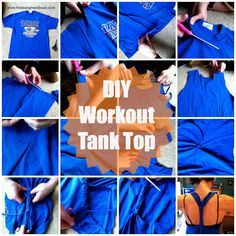 DIY Workout Tank Top - I've done this with old T-shirts I don't want anymore.. works like a charm.