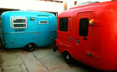 how cute are these campers?! retro and fully restored. it's the only way to rough it out in the wilds.