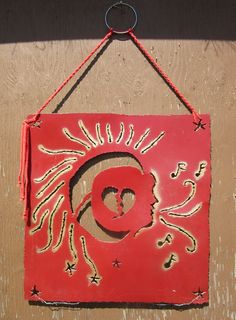Sun-Moon-Heart-Musical Goddess that Sings. Measures Sprayed with exterior paint for hanging outdoors. Diy Projects Cans, Home Projects, Sun Moon, Exterior Paint, Pet Portraits, Watercolor Paintings, Outdoors, Pets, Heart