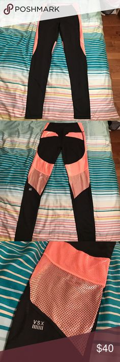 Victoria's Secret VSX Workout Leggings ▫️ Victoria's Secret VSX Workout Leggings ▫️ First pic is the front; second pic is the back ▫️ Brand new, never worn! ▫️ Size small w/ pocket on back waistband ▫️ Shiny pink mesh down sides & on back ▫️ Comes down to about ankle length ▫️ Make an offer! Victoria's Secret Pants Leggings