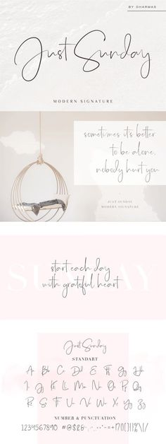 Just Sunday - Fonts - Ideas of Fonts - Just Sunday modern signature font by Dharmas on festapronta Pretty Fonts, Beautiful Fonts, Cool Fonts, Pretty Cursive Fonts, Fun Fonts, Hand Lettering Fonts, Calligraphy Fonts, Script Writing Fonts, Handwriting Fonts Alphabet