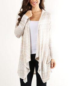 Khaki & White Geometric Hooded Cardigan