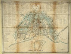 map of Amsterdam c.1842/1865 - copperplate engraving on textile
