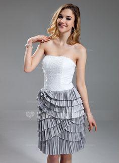 Sheath/Column Sweetheart Knee-Length Taffeta Sequined Cocktail Dress With Cascading Ruffles Pleated (016019701)