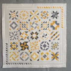 Cupcakes 'n Daisies: Yellow and Grey Color Cuts Play - Two Finishes Cut And Color, One Color, Gray Color, Yellow Fabric, Grey Fabric, Quilt Sets, Quilt Blocks, Quilts Online, Sampler Quilts