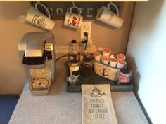 Coffee bar made for under $12 with items from AC Moore and a pallet plank!