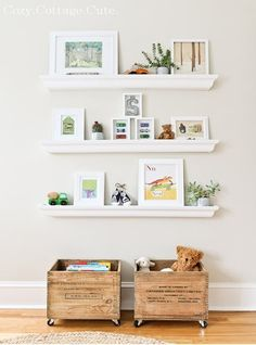 cute shelves...on different wall or as alternative to gallery wall? Also like the wooden crates for toy storage