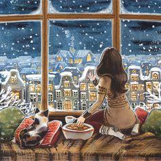 Children's Art by Ema Malyauka Winter Illustration, Art Et Illustration, Christmas Illustration, Illustrations, Friday Illustration, Art Anime Fille, Anime Art Girl, Art Fantaisiste, Art Mignon