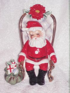 Vintage Christmas Large Santa Claus Figurine in Chair Josef Original Ornament Decoration Japan 6 inches. $75.00, via Etsy.