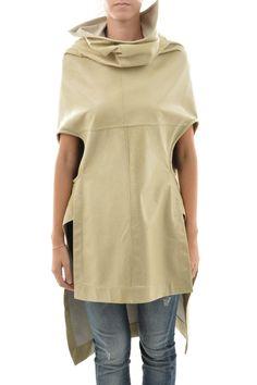 Rick Owens New Woman Beige Leather Short Sleeve Long Coat Jacket Size 40 It | eBay