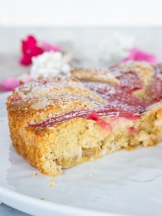Mandel- och rabarberkaka | Brinken bakar Danish Dessert, Fika, French Toast, Yoghurt, Breakfast, Desserts, Mad, Inspiration, Brown