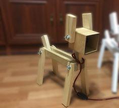 """Настольный светильник деревянный """"Собака"""" лаковый: SW003"""