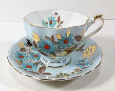 Vintage Tea Cup and Saucer by Queen Anne Bone China, England, Pale Blue, Turquoise, Orange and Gold