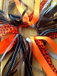 Neon Orange, Black and Silver Cheetah Hair Bow, Girls Hair Bows, Cheetah Bows