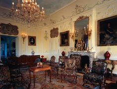 The Rocaille room with Louis XV furniture and armchairs by Pierre Nogaret, Dree Castle or Château de Drée (1610–1720), built by Charles de Blanchefort Crequy, near Curbigny, Burgundy, France.