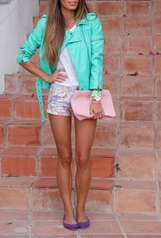 Floral Shorts and Green Leather Jacket