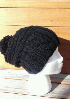 ffec83509f9 black knit slouchy hat winter black beanie black cable pom pom hat chunky  slouchy hat beret
