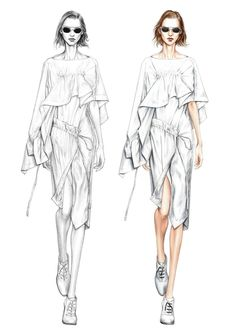 week 2 : Alessia Zambonin - Istituto Marangoni Fashion Illustration, sketch and rendering Illustration Mode, Fashion Illustration Sketches, Fashion Sketchbook, Fashion Sketches, Dress Sketches, Design Illustrations, Moda Fashion, Fashion Art, Editorial Fashion