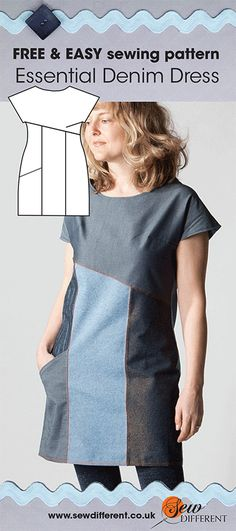 Free sewing pattern for women - the Essential Denim Dress now on the website. No tricky zips or buttons. Try using a twin needle for a true denim look. Loads of details and advice on the blog post to go with it. Happy sewing!