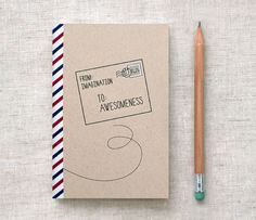 Handmade Sketchbook, Recycled Travel Journal, Brown - Air Mail, Postal, Special Delivery - Back to School. $7.00, via Etsy.
