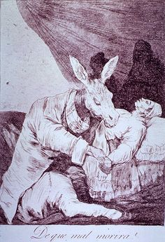 ¿De que mal morira? - a jackass in suit and shoes takes his patient's pulse.  Goya, Francisco, 1746-1828, artist.  Images from the History of Medicine.