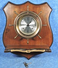 Seth thomas helmsman ships bell #brass #clock & wood wall mount- orig. #cond.,  View more on the LINK: http://www.zeppy.io/product/gb/2/272281534488/