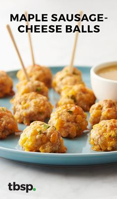 This simple twist on classic sausage cheese balls combines jalapeño with maple sausage and a quick maple mustard dipping sauce for a new version of an old favorite.