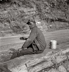 SW Pennsylvania coal miner waiting for ride home from the mine. Circa 1938