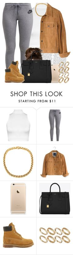 """Something simple for the rain. "" by livelifefreelyy ❤ liked on Polyvore featuring WearAll, NIKE, Madewell, Yves Saint Laurent, Timberland and ASOS"
