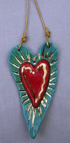 Red Heart Ceramic Ornament with Turquoise by RobinChladDesigns. $17.00