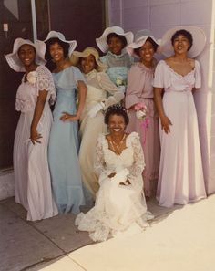 1970's (perhaps early 1980's) bride with her attendants