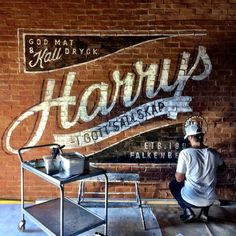 Another wallpainting for Harrys in Västerås is finished. #harrys #grafiskdesign…