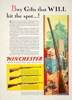 1935 Ad Winchester .22 Model 69 Bolt Action Hunting Rifle Christmas Gift Shotgun